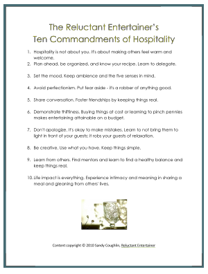 Reluctant Entertainer's Ten Commandments of Hospitality