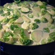 Brussels Sprouts Braised with Cream and Sweet Dates