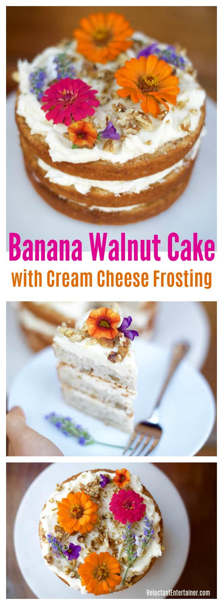 Banana Walnut Cake with Cream Cheese Frosting Recipe
