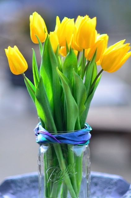 Celebrate Spring On Its Way With Simple Yellow Tulips In A Mason Jar