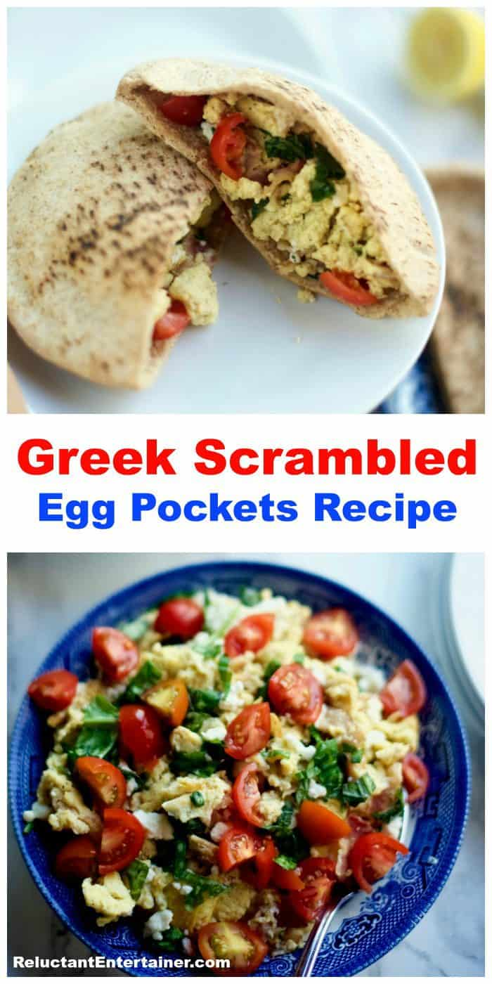 Pita Bread Greek Scrambled Egg Pockets Recipe