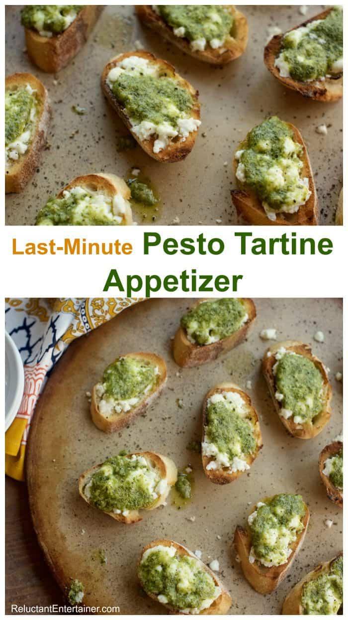 Last Minute Pesto Tartine Appetizer Recipe Reluctant Entertainer