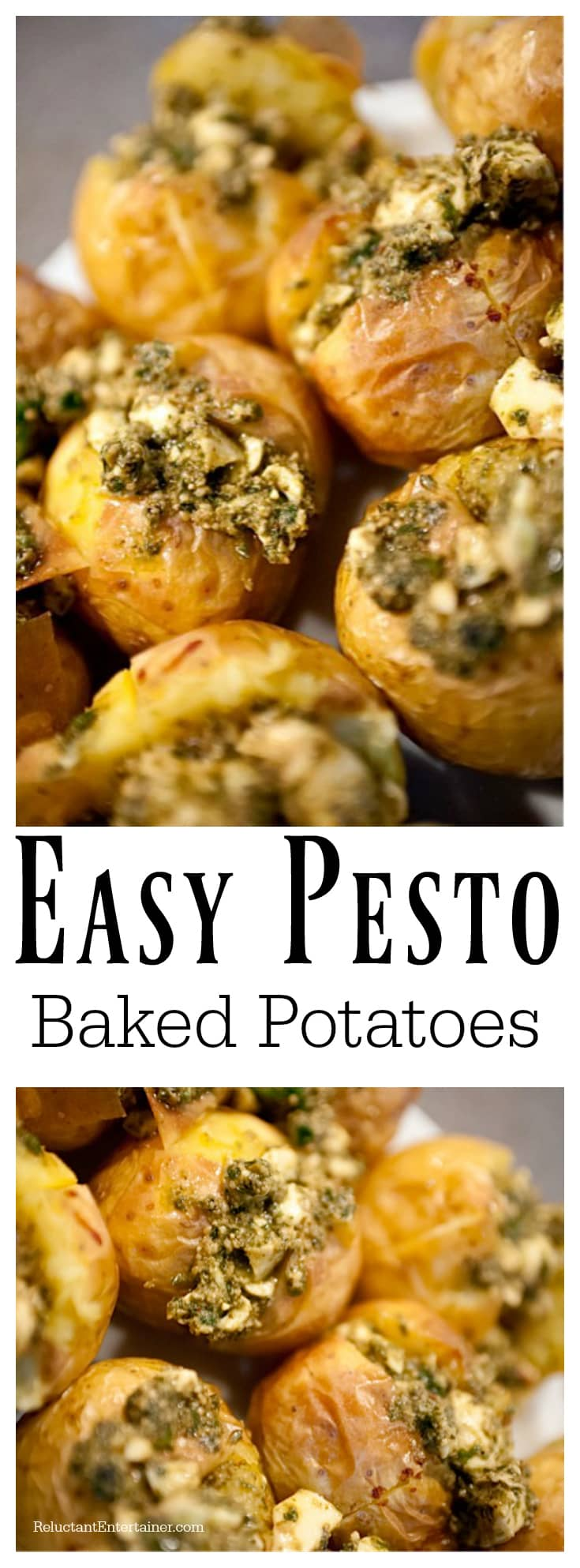 Easy Pesto Baked Potatoes Recipe at ReluctantEntertainer.com