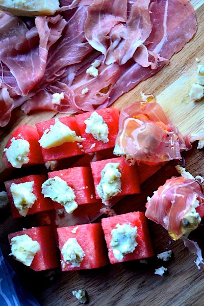 Watermelon, Blue Cheese & Proscuitto Wrap Drizzled with Honey