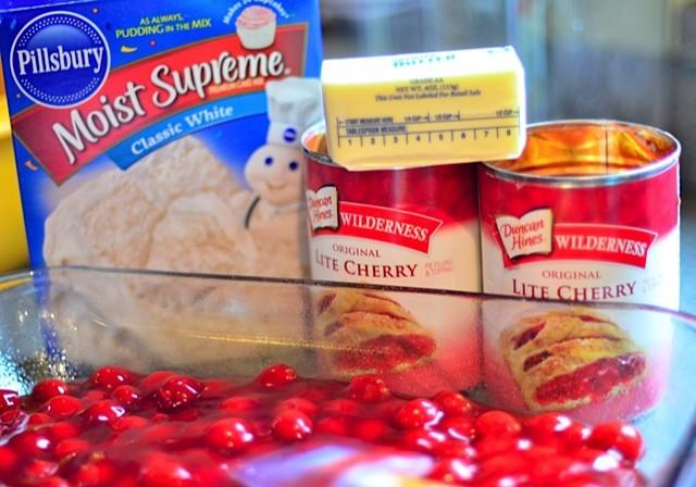 Valentine's Day Cherry Crunch Dessert - ingredients