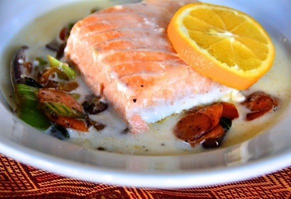 Baked Salmon with Coconut Broth | reluctantentertainer.com