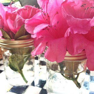 Rhododendrons in canning jars