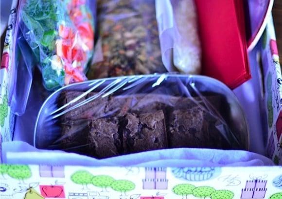 gluten-free brownies in repurposed box
