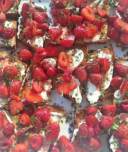 Gluten Free Roasted Strawberry Crostini with Fresh Herbs