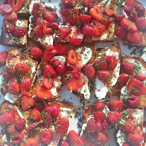 Gluten Free Roasted Strawberry Crostini with Fresh Herbs
