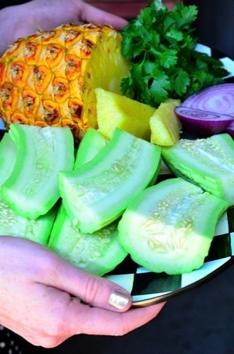 Armenian cucumber salad with pineapple & cilantro