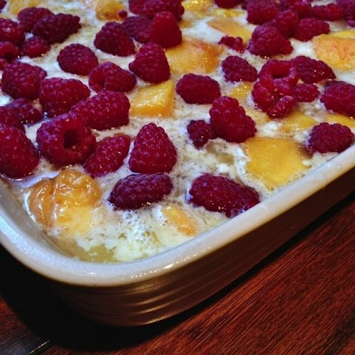 Peach Cobbler with Raspberries