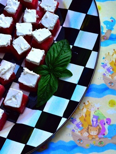 Watermelon Feta Bites with Basil Olive Oil