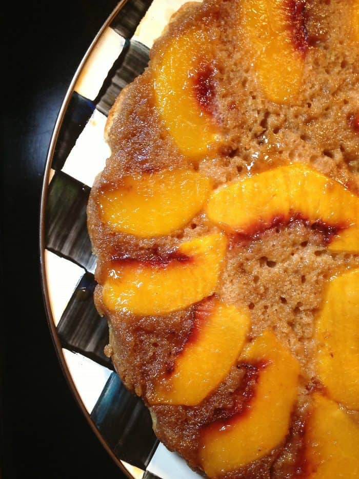 Making Peach Upside Down Cake for Dinner Guests