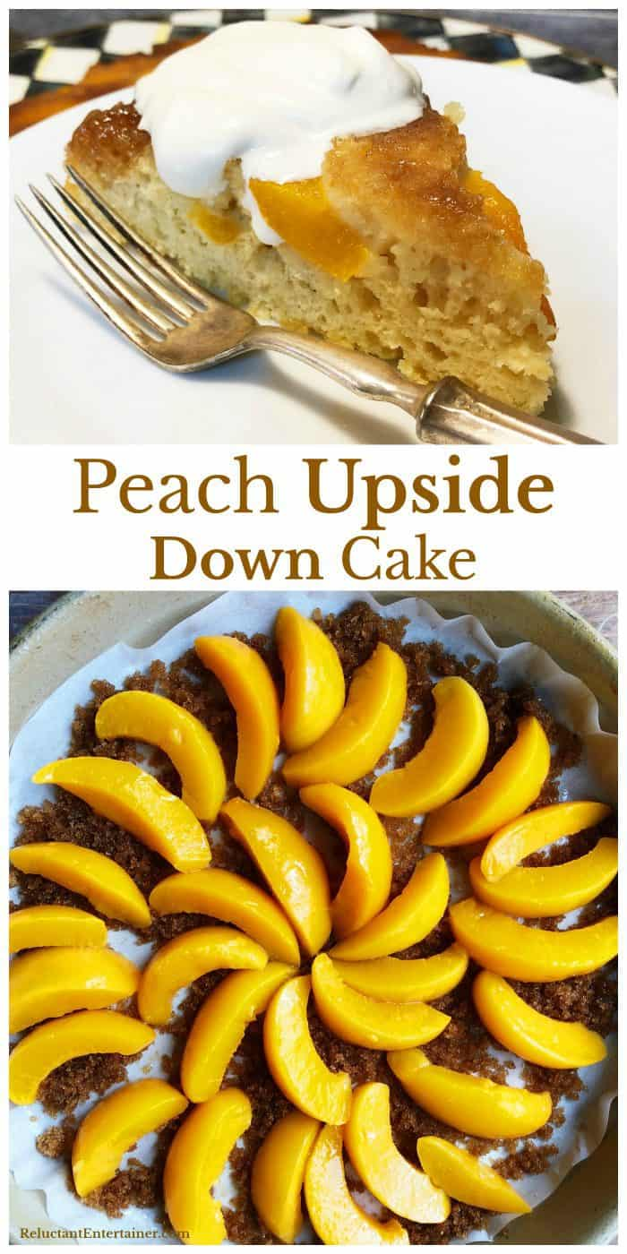 Making EASY Peach Upside Down Cake Recipe for Dinner Guests