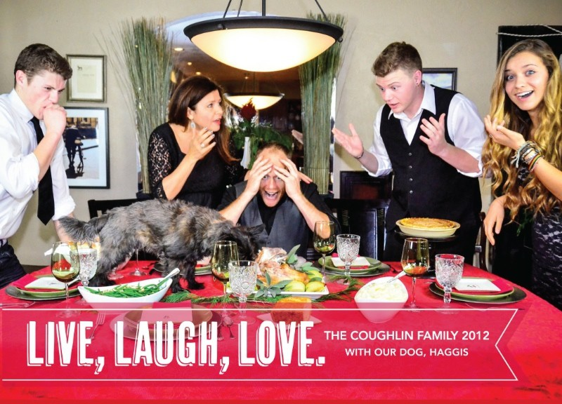 Dog ate the turkey. Christmas card. ReluctantEntertainer.com