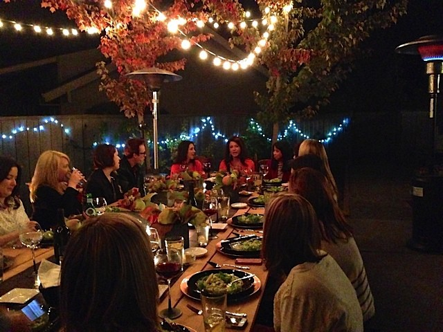 Blogger dinner in backyard