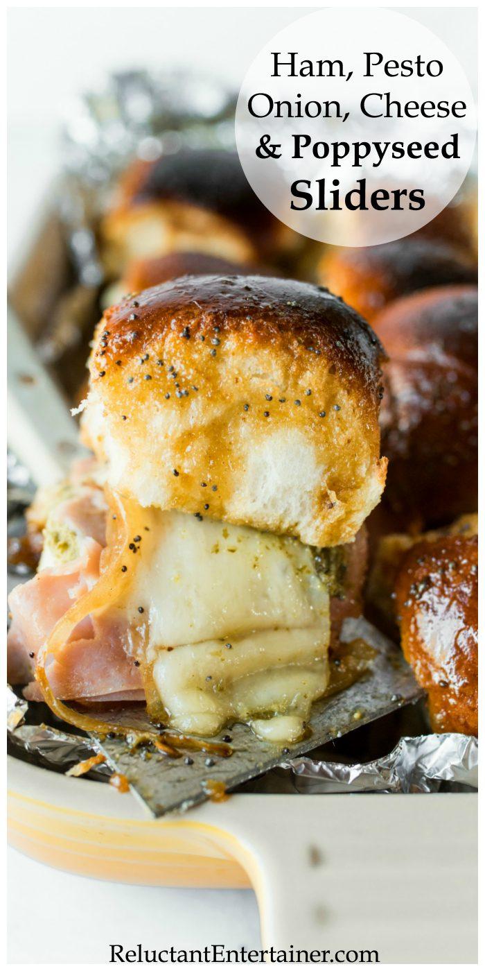 Ham Pesto Onion Cheese Poppyseed Sliders Recipe