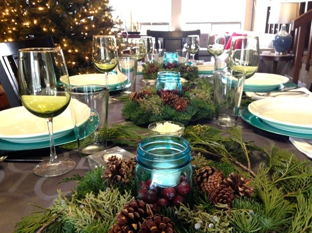 Blue and Green Christmas Table