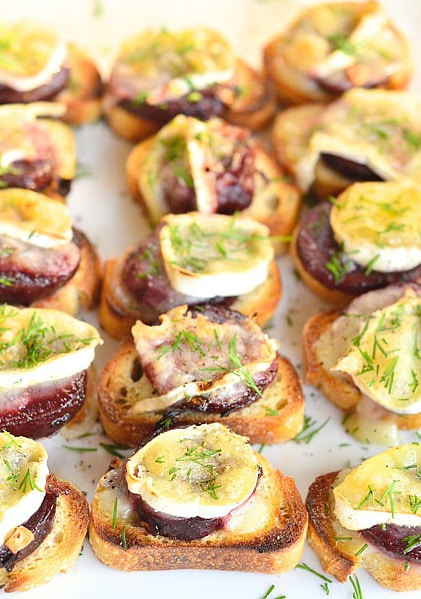 Beet and Brie Crostini