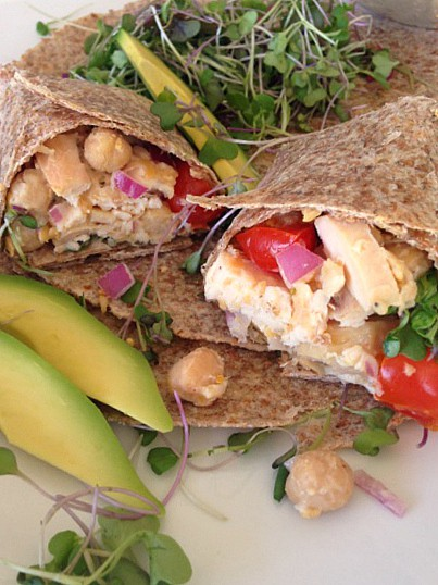 Bush's Stuffed Garbanzo Bean and Chicken Wrap