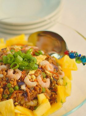 """Pineapple and Baby Shrimp Farro """"Fried Rice"""""""