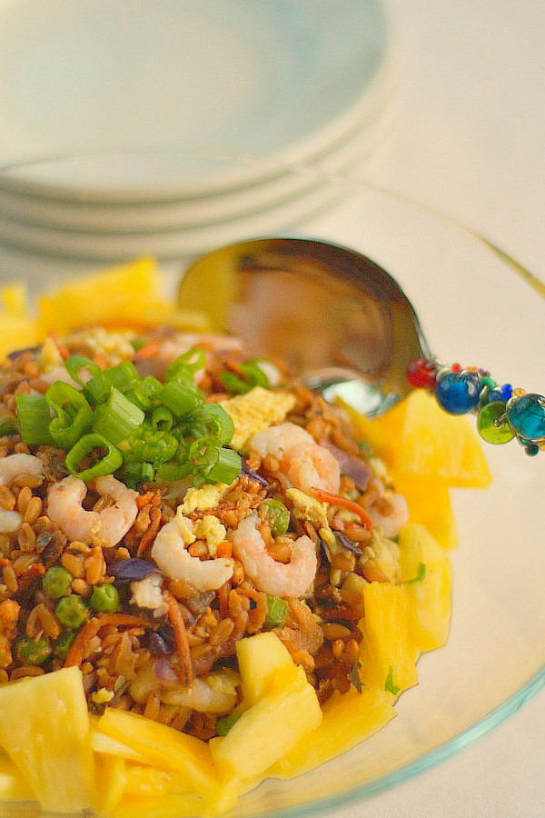 """Pineapple and Baby Shrimp Farro """"Fried Rice"""" - Reluctant ..."""