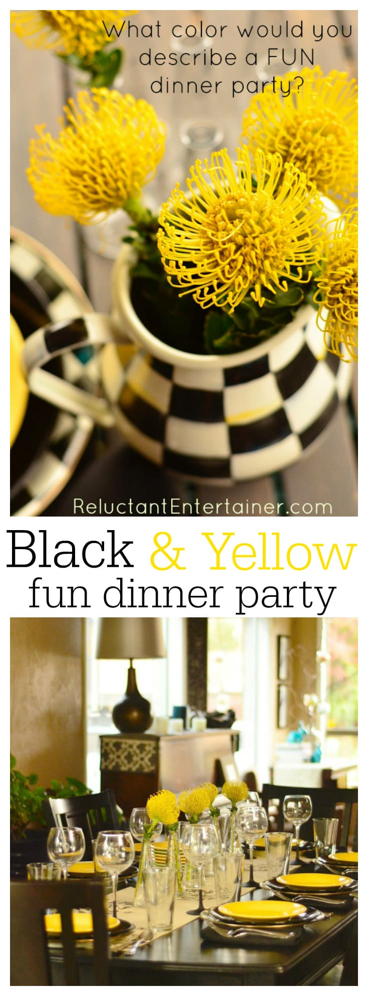 What Color Would You Describe a Fun Dinner Party? We love the color combination of yellow and black!