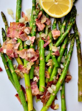 Asparagus with Bacon and Shallots for Easter Dinner