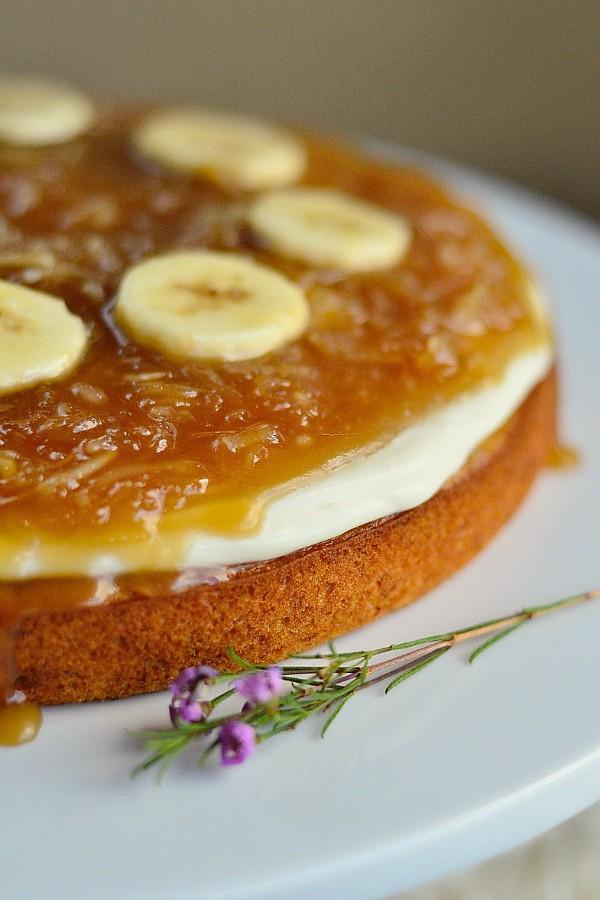 Salted Caramel Coconut Banana Cake