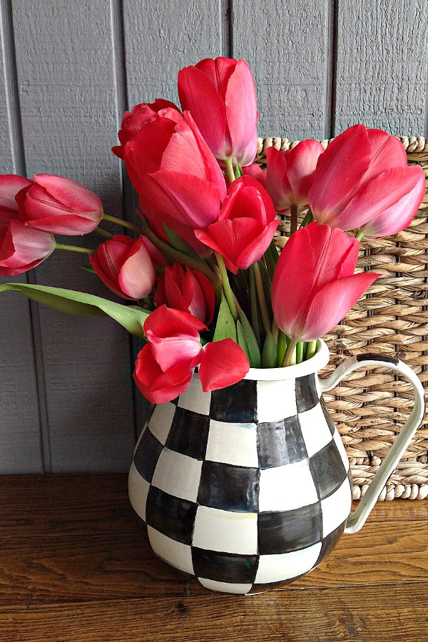 Reluctant Entertainer red tulips