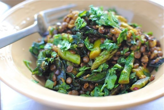Indian Lentil Saute with Kale and Asparagus from Bev Cooks