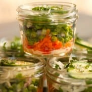 Individual Pea Layered Salad in a Jar