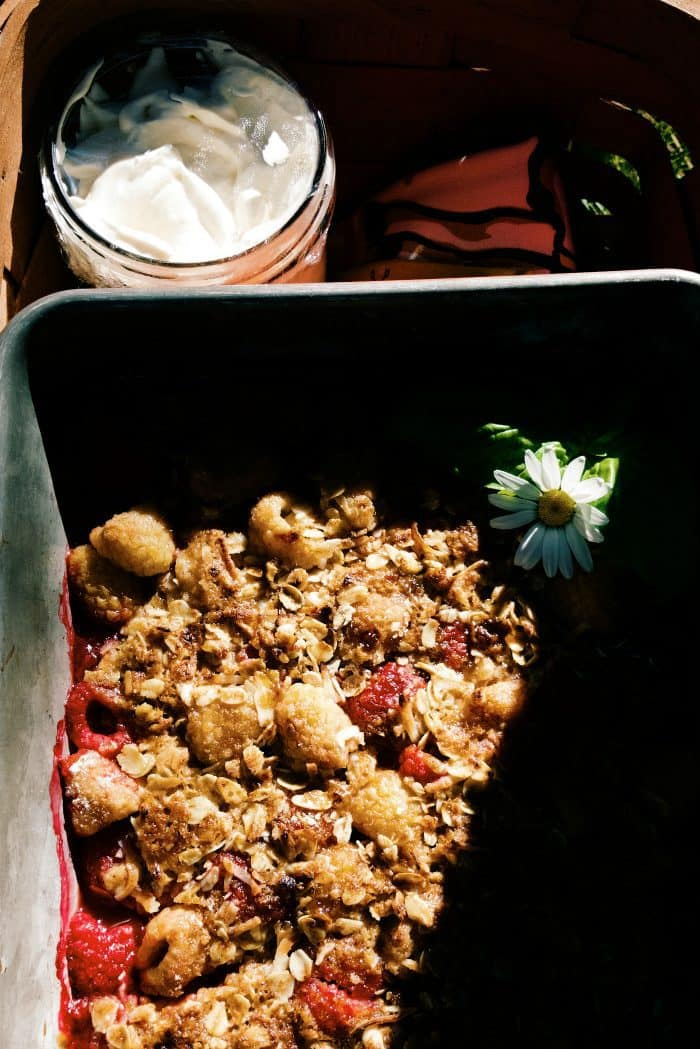 Classic Fresh Raspberry Crisp Recipe in basket