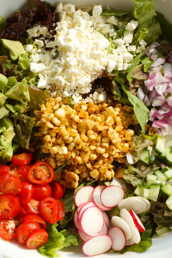 Summer Corn Green Salad with Cilantro Lime Vinaigrette