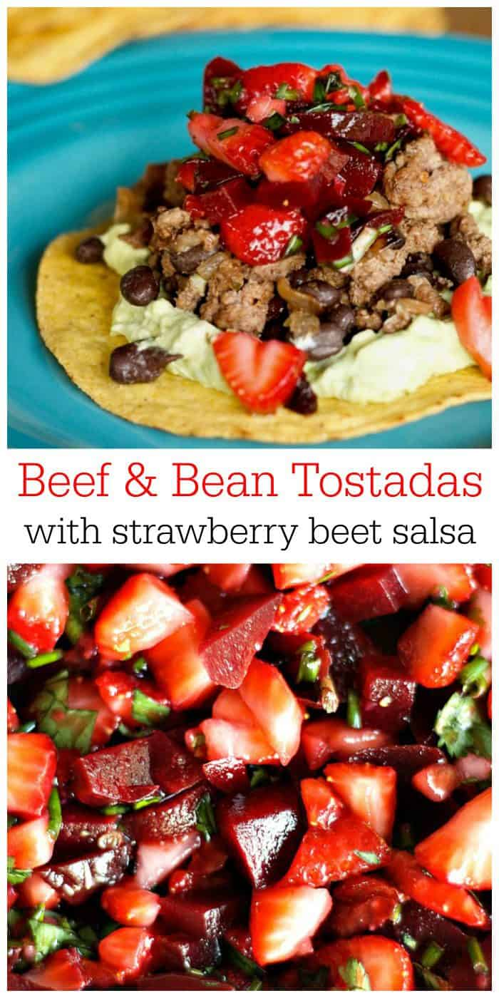 Delicious Beef Bean Tostadas with Strawberry Beet Salsa