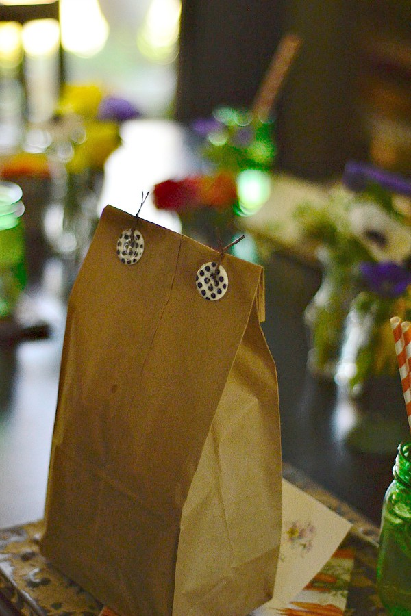 Brown Bag Lunch and DIY Vintage Ceiling Tile Chargers