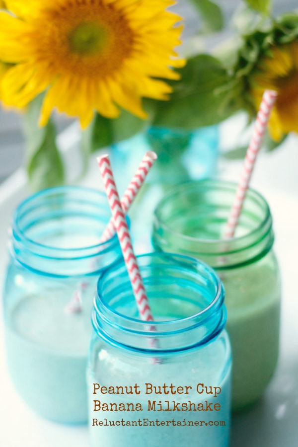 #MilkshakeWeek Peanut Butter Cup Banana Milkshake Recipe | reluctantentertainer.com