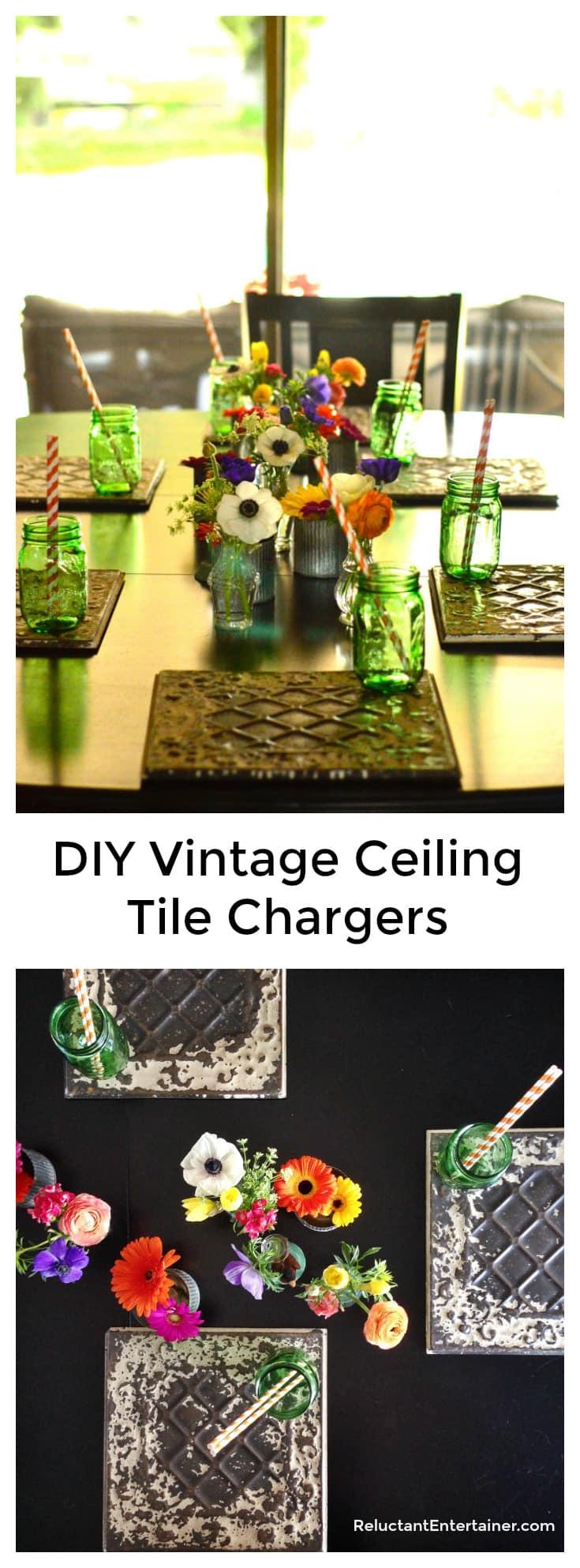 DIY Vintage Ceiling Tile Chargers