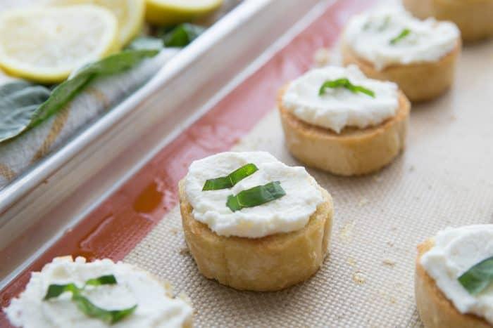 BEST Ricotta Lemon Basil Honey Bruschetta