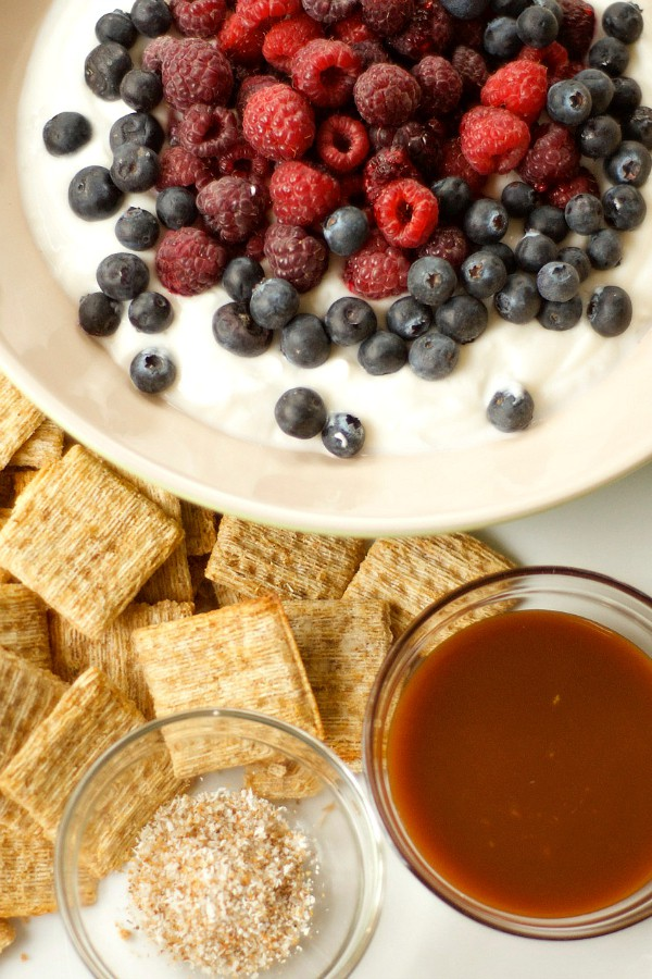Salted Caramel Yogurt Dip with Mixed Berries
