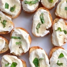 Ricotta with Lemon, Basil, and Honey Bruschetta