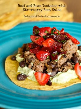 Beef and Bean Tostadas with Strawberry Beet Salsa