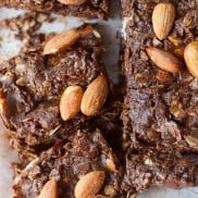NO-Bake Chocolate Almond Cranberry Oat Bars | reluctantentertainer.com