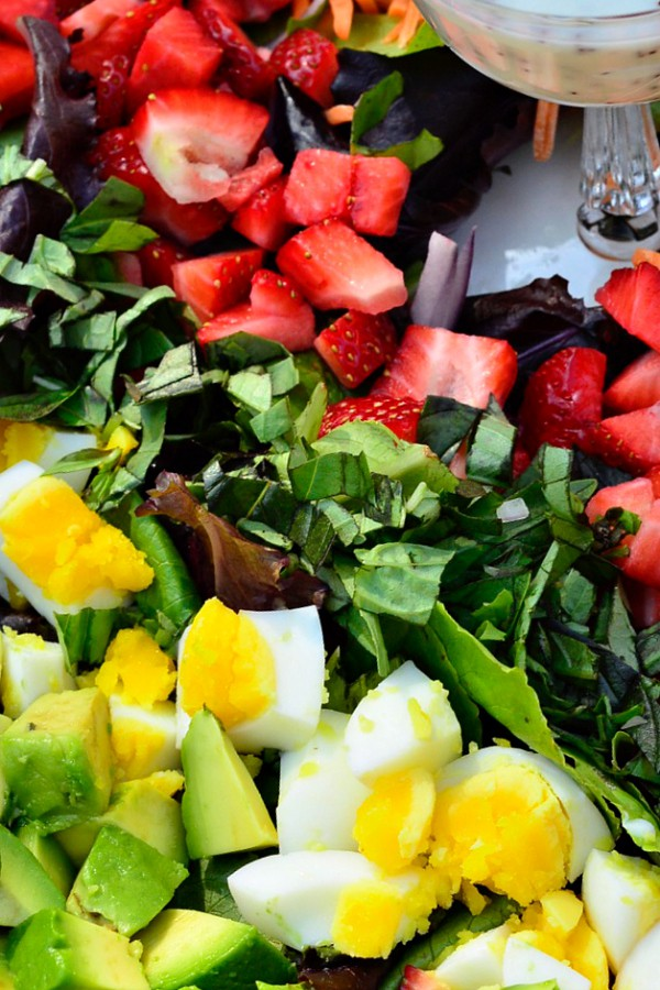 Strawberry Cobb Salad Recipe with Creamy Poppyseed Dressing