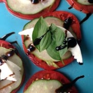 "Cucumber Caprese Bites. ""Courage is being scared to death, but saddling up anyway."" ― John Wayne ... ReluctantEntertainer.com"