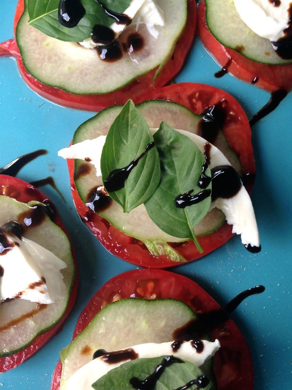 """Caprese Bites with Cucumber. """"Courage is being scared to death, but saddling up anyway.""""  ― John Wayne ... ReluctantEntertainer.com"""