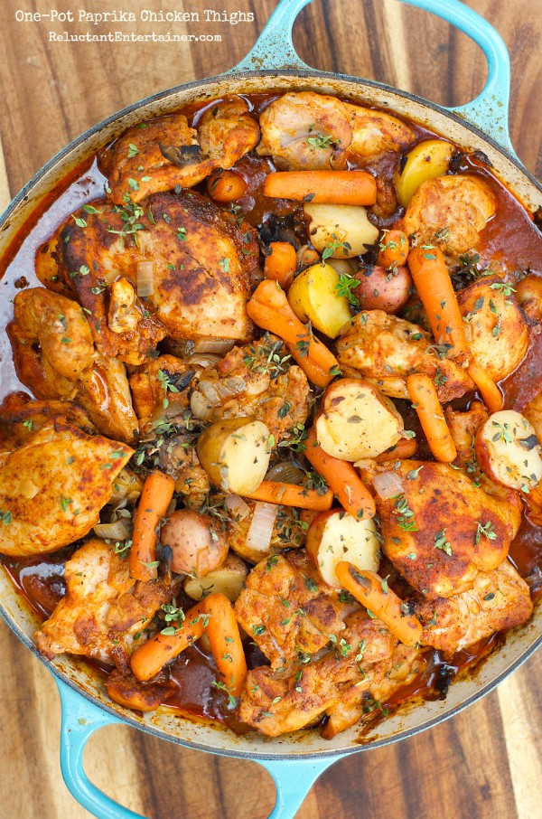 One-Pot Paprika Chicken Thighs | ReluctantEntertainer.com