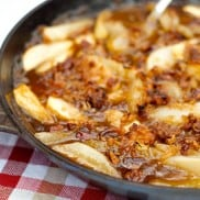 Apple Pear Skillet Dessert with Pecan Coconut Topping | ReluctantEntertainer.com
