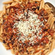 Bacon Mushroom Ragu Pasta | ReluctantEntertainer.com